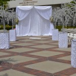 Platinum Wedding Decor by SBD Event Designs - Crystal Trees, Backdrop with Crystal Curtains, White Wedding, Outdoor Weddings