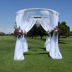Round Canopy with Chandelier and Flowers- SBD Event Designs, SBD Events, Outside weddings, White and Purple Wedding