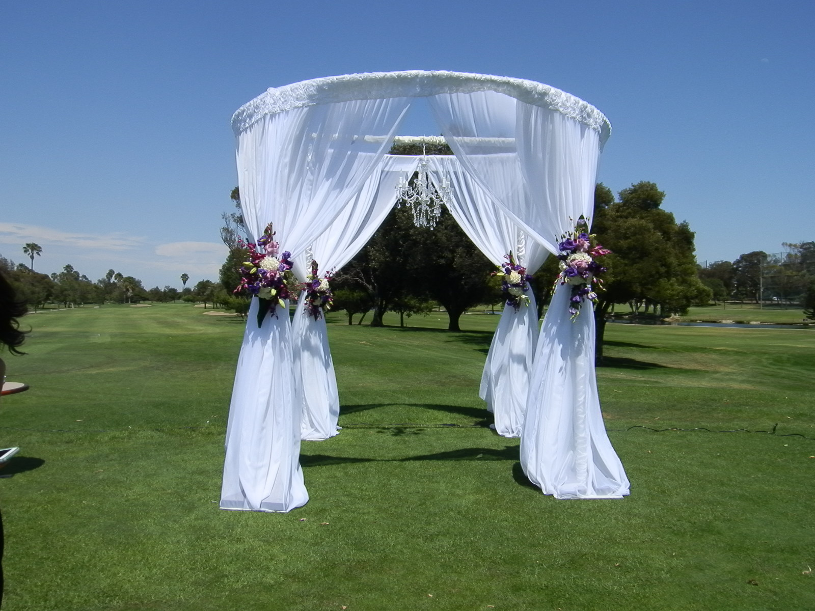 wedding design gallery wedding canopy Round Canopy with Chandelier and Flowers SBD Event Designs SBD Events Outside weddings